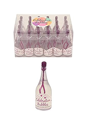 24 wedding birthday celebration bubbles purple top and wand clear bottle