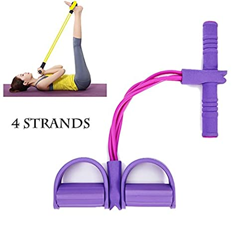 Haolong Men and Women Home Fitness Resistance Bands Yoga Sports Equipment for Belly Abdomen Waist Arm Leg Exercise, Multifunction Leg Stretching Slimming Exerciser Sit-up Bodybuilding Expander,purple 4 strands
