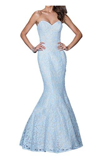 Prom Style Damen Elegant Spitze Traegerlos Rueckenfrei Abendkleider Ballkleider Cocktailkleider Mermaid Etui Lang Partykleider Blau