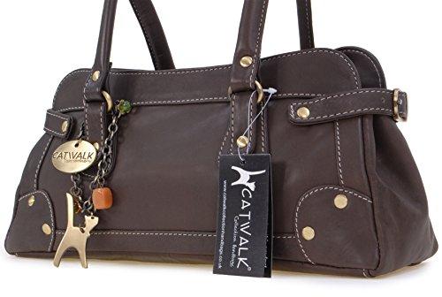 Lederhandtasche Carnaby von Catwalk Collection - GRÖßE: B: 33 H: 13 T: 9 cm Braun