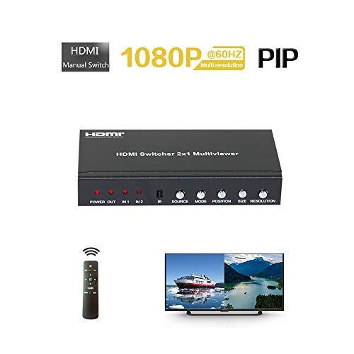 HDMI 2x1 Multi-Viewer with Pip POP 1080p60hz 2 Port HDMI Seamless Switch Screen Splitter Mode 2 in 1 Out for IR Remote RS232 and Console Knopf Schalter Wählen Sie