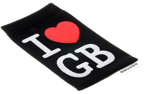 Trendz TZSKBUBK Universal Socke für Apple iPhone/iPod und MP3 schwarz mit rosa Herz Knopf Black with I Love GB Design