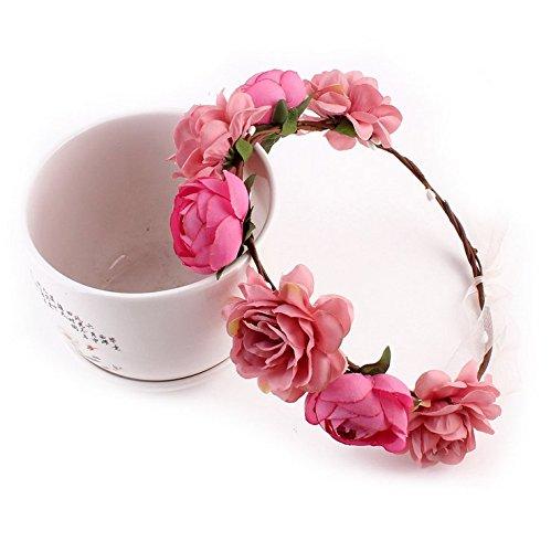 Aukmla Haarband für Frauen, Haarkranz / Krone mit Blumen im Bohemia-Stil, für Hochzeit, Strandurlaub etc.