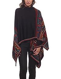 Invisible World Womens Hand-Knit 100/% Baby Alpaca Megan Multicolour Ruana Shawl Wrap