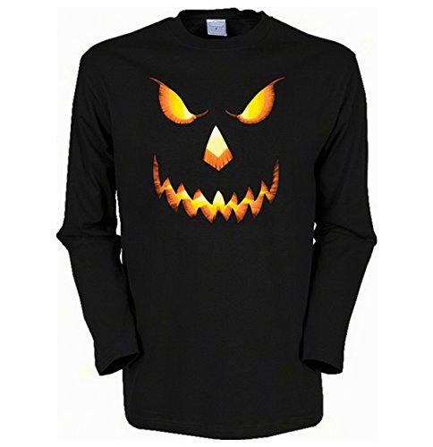 Halloween Herren Langarm-Shirt ::: Kürbis Gesicht ::: für Halloween Schwarz