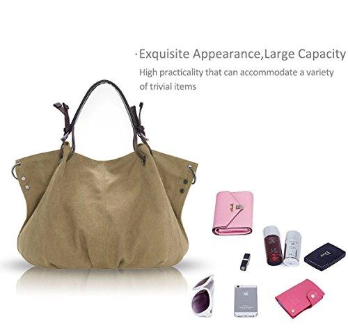 Nicole&Doris 2017 nuovo retro sacchetto di grande spalla Signore / Donne / Borsa donna Mobile Messenger borsa di tela(Brown) bianco crema