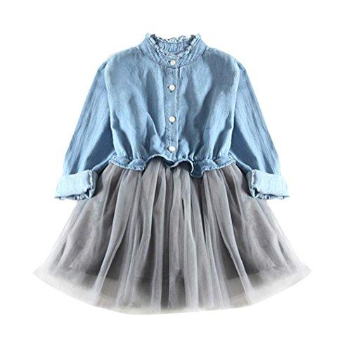 ❤️Elecenty Mädchen Prinzessin Kleid,Jeans-Kleid Tutu Mesh Kleid Kinder Langarm Cowboy Kleidung Strandkleid Baby Kleider Tasten Outfit Kinderkleidung Partykleid Tüllkleid Abendkleider (140, Hellblau)
