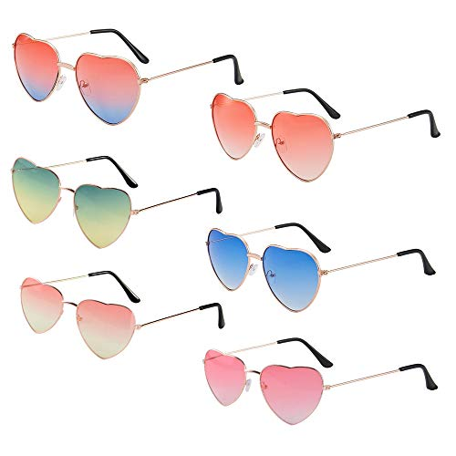 6paar Hippie Sonnenbrille Partybrill Herzform Brille Gläser mit Metall Rahmen für Hochzeit Junggesellinnenabschiedfoto requisiten Kostüm Party Club Tanz PropsHippie Verrücktes Kleid Zubehörteil
