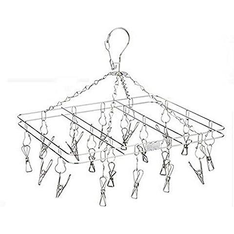 ibeet Hanger Rack, Set di 20, Clip e asciugatura Drip, Acciaio Inossidabile Rack–ideale per appendere vestiti, asciugamani, Calze, Biancheria Clothesline