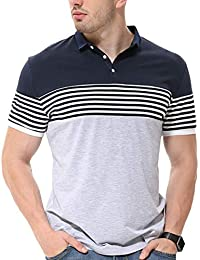 Fanideaz Men's Cotton Half Sleeve Striped Polo T Shirt With Collar