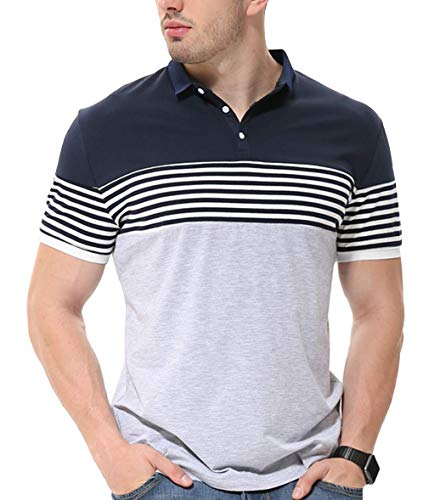 fanideaz Men's Cotton Stripe Polo Collar T-Shirts (Grey Melange, Large)