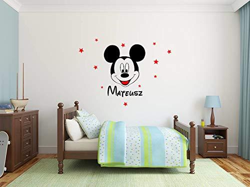 Nombre del bebé Personalizado Pegatina de pared Feliz Mickey Mouse Calcomanías de pared Niña Niño...