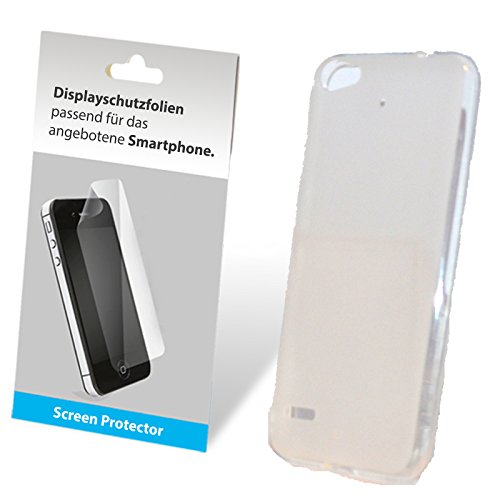 SCHUTZFOLIE + TPU Silikon Bumper Case Tasche Hülle Case Cover Schutz Cover Etui Weiß Transparent für Medion Life E5006