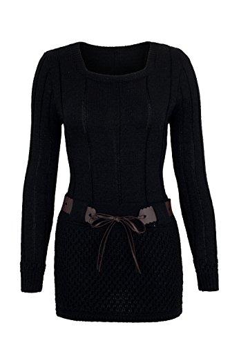 AO Carmen Robe Pull Tricote Manches longues - modèle plus long Noir