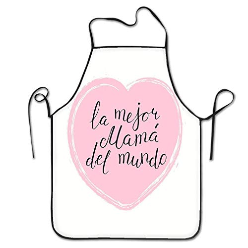 dfhfdsh Delantal de Cocina,Funny Personality Apron Hand Written Lettering Quote Best mom World Spanish la Mejor Mama del Mundo Heart Isolated Objects White Chef Kitchen Aprons Waiter Apron