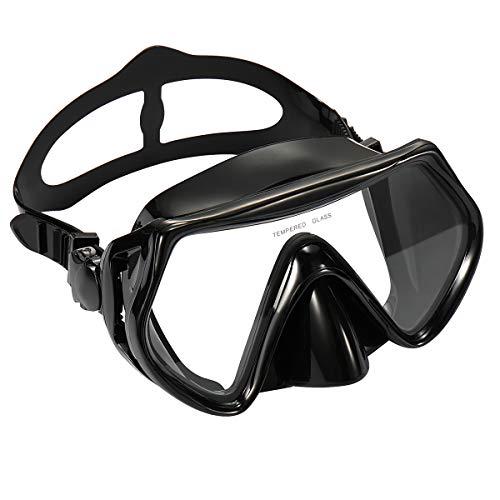 Supertrip Premium Erwachsene_Taucherbrille Tauchset gehärtete Tauchmaske und trockenem Schnorchel(Schwarz(Nur Taucherbrille))