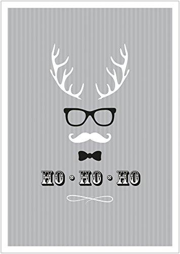 (Erhältlich im 1er 4er 8er Set: Ho, Ho, Ho Moderne Coole lustige Hipster Weihnachkarte Klappgrußkarte Gutschein mit Hirschgeweih, Brille, Fliege und Schnurrbart in Grau mit Umschlag (8))