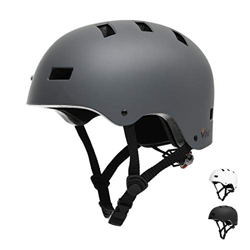Vihir Erwachsene Fahrradhelm skaterhelm BMX fahradhelm Herren Damen Kinder Sport Helm für Männer & Frauen, Dunkelgrau/L