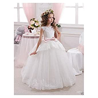 Girl Communion Party Prom Princess Pageant Bridesmaid Wedding Flower Girl Dress+