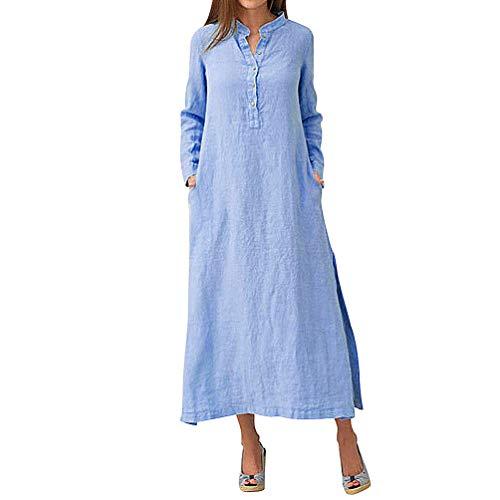 MIRRAY Damen Kaftan Baumwolle Langarm Klar Lässig Übergroß Maxi Langes Hemdkleid Grundlegendes Kleid (Blau,XXX-Large/EU42)