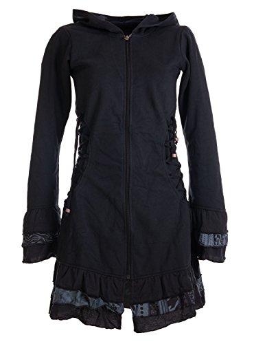 Vishes - Alternative Bekleidung - Elfenmantel aus Baumwolle mit Zipfelkapuze und Rüschen zum Schnüren schwarz 38