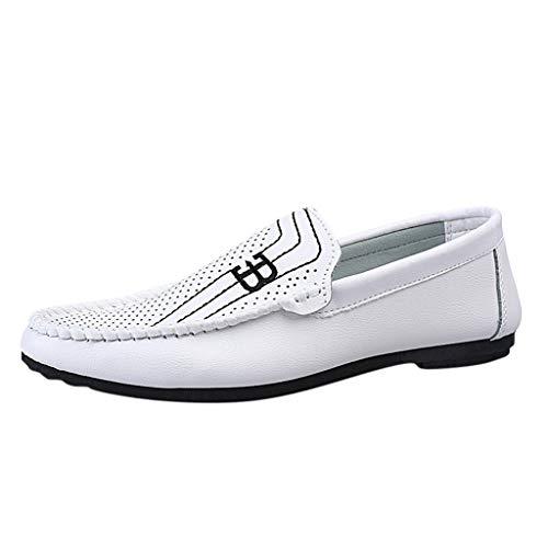 Mens Bequeme leichte runde Zehenschuhe für Herren Leder Loafer Flats Mokassins Rutschfester breiteres Fahren Wanderschuhe Rutschfeste Low-Top Mode Sandalen -