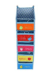Baby Grow 5 Step Kids Toys Cloth Stoarge Hanging Rack Polka Dot Velvet Cupboard (BLUE)