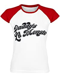 Suicide Squad Harley Quinn - Daddy's Little Monster Girls Shirt White-Red