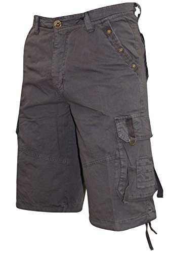 New Men's True Face Summer Cargo Combat Shorts Charcoal
