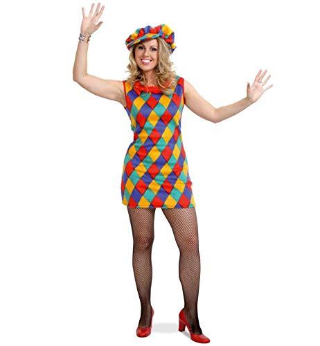 KarnevalsTeufel Damenkleid Tonia mit Mütze sehr kurz, bunt kariert, kuschelig weich, Clown, Zirkus, Karneval, Mottoparty (42)
