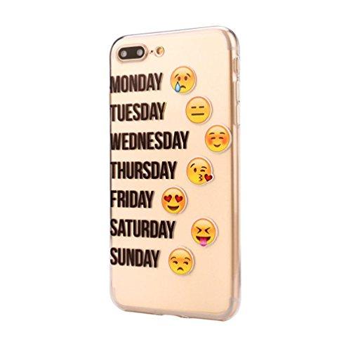 Gesicht Iphone (iPhone 7 Plus Hülle,Gusspower Mode Kreatives Design Fließendes Lustiges QQ Emoji Gesicht Smiley Gesicht, Soft TPU Rückseitige Abdeckung für iPhone 7 Plus (M))