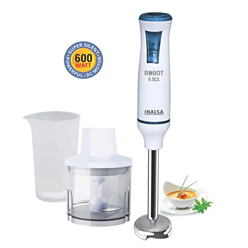 Inalsa Robot 6.0 CS 600-Watt Hand Blender (White/Blue)