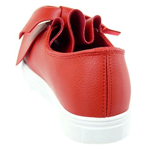 Angkorly - Scarpe da Moda Sneaker Tennis slip-on donna nodo a grana Tacco tacco piatto 2.5 CM Rosso