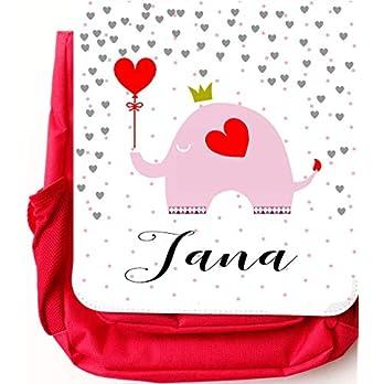 Kindergartenrucksack für Mädchen rot mit Namen personalisiert – mit Brustgurt/Kindergartentasche