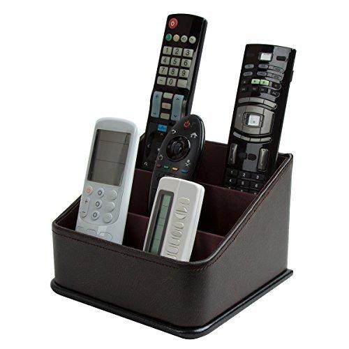 JackCubeDesign Remote Holder, TV Remote Caddy Organizer, Controlador de almacenamiento con 3 espaciosos compartimentos (Brown) -: MK122A