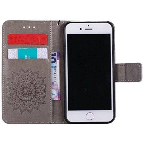iPhone 7 Étui en cuir, Lifetrut [Tournesol gaufré] Portefeuille en cuir Flip Folio Design Flip Coque Couverture pour iPhone 7 [Marron] E203-Gris