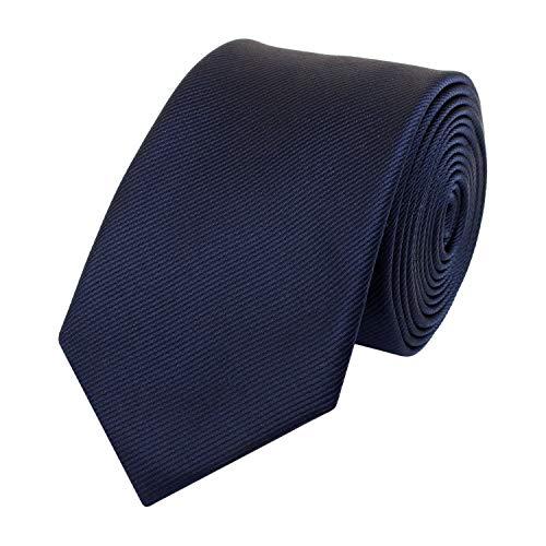 Fabio Farini Schlips Krawatte Krawatten Binder 6cm dunkelblau gestreift