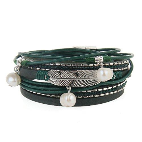JOYMIAO Herren Frau Armband Edelstahl Echtleder Armband mit Perle Anhänger, Dschungel grün Vintage Feder Geflecht Seil Manschette Armreif (grün)