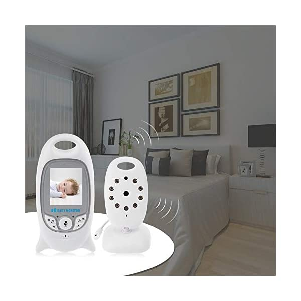 """Flybiz Wireless Baby Video Monitor with Digital Camera, 2.0"""" LCD Display Screen Baby Lullaby Night Vision Temperature Monitoring 2 Way Talk, Babyphone,Nanny,Pets Surveillance for Home Security System Flybiz Reliable 2.4 GHz FHSS Wireless Technology - This baby monitor gives you great peace of mind when your little ones are asleep upstairs and you are downstairs. Privacy and security are 100% ensured. Temperature Monitoring and LED Night Vision - You can measure the temperature around your baby easily using the baby monitor.The night vision will turn on automatically when you put the camera in the dark. 2 Way Talk Back - With the two-way communication function, parents can speak soothing words to babies and put baby at ease when babies getting agitated at night. 7"""