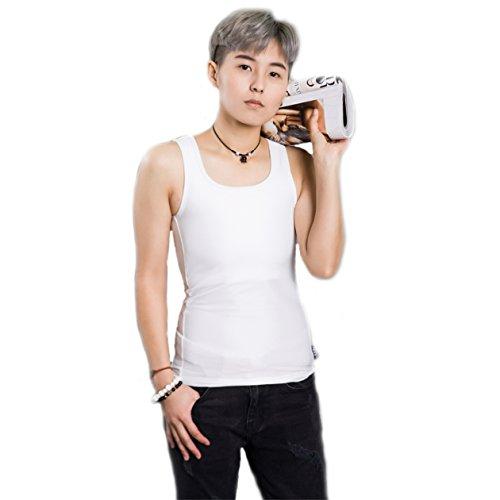 BaronHong Bambuskohle Faser Brust Binder Baumwolle Tank Top für Tomboy Trans Lesben (Weiß, L)