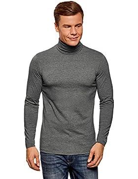 oodji Ultra Hombre Suéter de Cuello Alto Ajustado