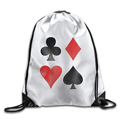 Etryrt Turnbeutel/Bedruckte Sportbeutel, Premium Drawstring Gym Bag, All Four Suits Club Diamond Heart and Spade Poker Design Cool Gym Drawstring Bags Travel Backpack Tote School Rucksack -