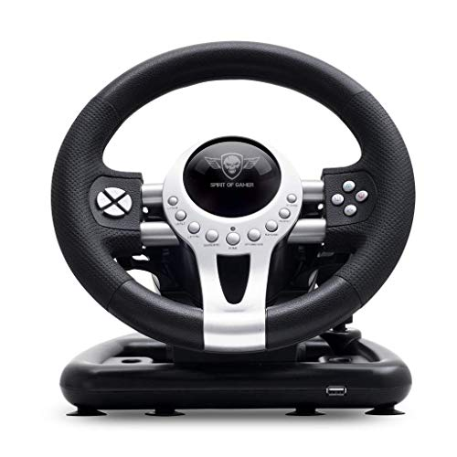 SPIRIT OF GAMER - RACE WHEEL PRO 2 - Volant de Course Avec Pédales, Palettes et Levier de Vitesse - Rotation du Volant - Support de Fixation - Double Moteur de Vibration - PS4 / XBOX ONE / PC / SWITCH