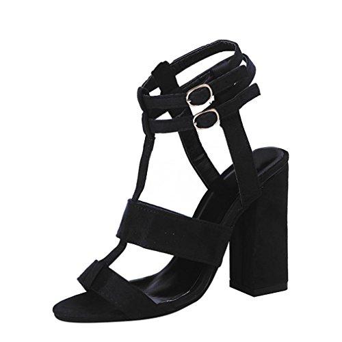 Damenschuhe Kolylong® Frauen Elegant Wildleder Schuhe mit Absatz Mode Sandalette High Heels Vintage Offene Schuhe für Frühling Sommer Sandalen Party Wedding Hochzeitsschuhe (40, Schwarz) (Ferse Block Womens)