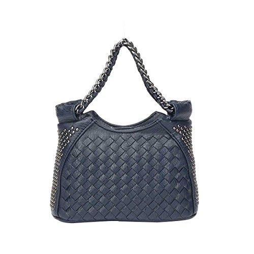 Art Der Frauen Gesponnenen Beutel Art Und Weise Niet Umhängetasche Mini-Reißverschluss Tasche Darkblue