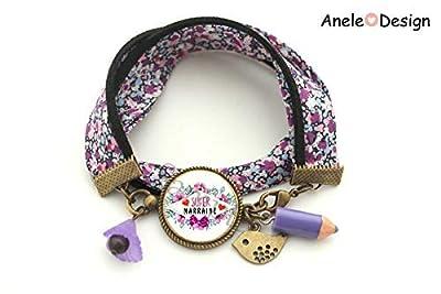 Bracelet marraine, Super marraine, violet noir, oiseau, crayon violet, cadeau marraine