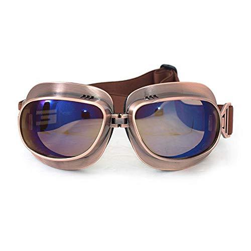 Motorradbrillen für Harley Bronze Rahmen Retro Stil Winddicht Helm Brille Vintage Aviator Pilot Style
