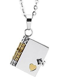 e1ad482463b2 Beydodo Colgante Collar Acero Inoxidable Colgante Collar Unisex Colgante  Libro Corazón Colgante de Unisex Colgante