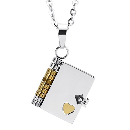 Beydodo Colgante Collar Acero Inoxidable Colgante Collar Hombre Colgante Libro Corazón Colgante de Hombre Colgante Oro