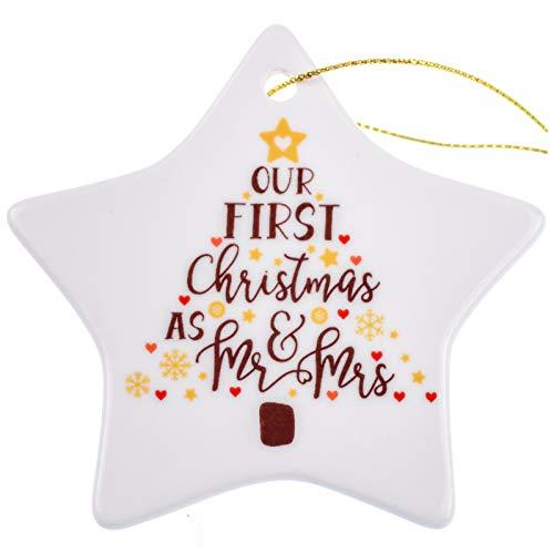 Zweiseitiges Our First Christmas Ornament 2018 as Mr & Mrs, Geschenke für Brautpaar Keramik Weihnachtsbaumschmuck 2018, Neu Just Married Porzellan Weihnachtsbaumschmuck Hochzeit Ornament für Paare